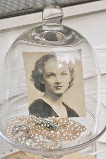 my flowe frog andpicture w momentos or wedding pic of grandma and grandpa and her hanky flower frog ti Funeral Reception, Funeral Planning, Funeral Ideas, Cloche Decor, Funeral Memorial, Funeral Food, Wedding Memorial, The Bell Jar, Bell Jars