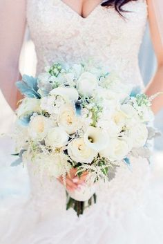 All White Wedding Bouquets Inspiration ★ See more: https://www.weddingforward.com/white-wedding-bouquets-inspiration/8
