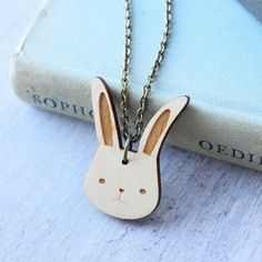 Wooden Bunny Rabbit Necklace by Ginger Pickle, the perfect gift for Explore more unique gifts in our curated marketplace. Surgical Steel Earrings, Necklace Chain Lengths, Gold Plated Rings, Wooden Jewelry, Bunny Rabbit, Antique Gold, Dog Tag Necklace, Unique Gifts, Hair Accessories