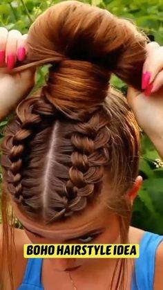 Hairdo For Long Hair, Hair Due, Bun Hairstyles For Long Hair, Hair Twist Styles, Short Hair Styles, Cute Braided Hairstyles, Hair Upstyles, Hair Creations, Hair Videos
