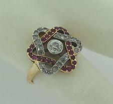 Exquisite Platinum 18K Gold Diamonds Rubies Star of David Art Deco Ring