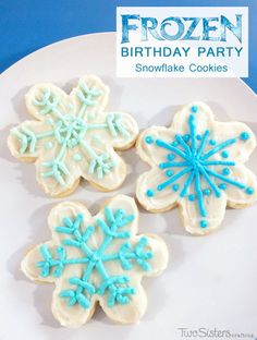 Disney Frozen Snowflake Cookies were a great addition to the Dessert Table at our Frozen Birthday Party.  Both the kids and the parents loved these winter snowflaked themed Sugar Cookies with Buttercream Frosting.  For more great Frozen Party Ideas follow us at http://www.pinterest.com/2SistersCraft/