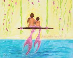 Mermaid++Art+Mermaid+Painting+Art+Print+by+LeslieAllenFineArt