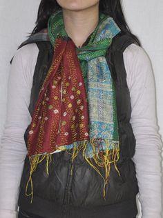 Indian Raw Silk Stole Women's Fashion Dupatta Patchwork Neckwear Wrap Scarves #LalHaveli #Stole