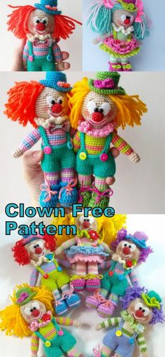In this article we will share the amigurumi clown crochet free english pattern. Amigurumi related to everything you can not find and share with you. Crochet Amigurumi Free Patterns, Crochet Doll Pattern, Crochet Toys, Crochet Gratis, Free Crochet, Clowns, Knitted Dolls, Amigurumi Doll, Doll Patterns