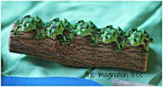 5 little speckled frogs sat on a speckled log