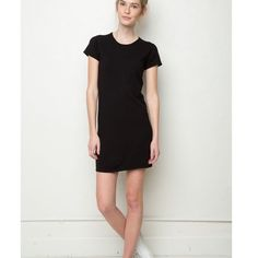 Brandy Melville Elodie Dress Brand New W/ Tags!! Never worn, Super soft knit cotton shirtdress in black with a crewneck front. Fits size XS/Small/Medium Brandy Melville Dresses