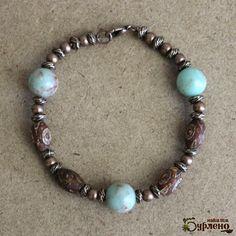 Bracelet  with jasper and  natural stone tibetian beads, boho beaded bracelet with semiprecious stones and copper and tibetian stone beads,