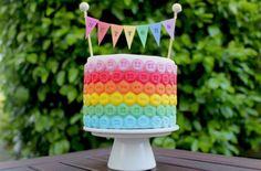Rainbow button cake decorations