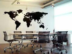 Die Weltkarte als Wandaufkleber für Ihre Wohnung.