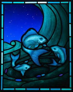"""Pisces: #Pisces ~ """"Under Starlight,"""" painted & fired stained glass, by Brian Waugh, Glasgow, Scotland."""