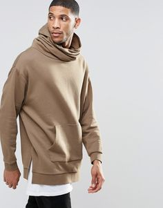 ASOS+Longline+Oversized+Hoodie+With+Funnel+Neck+&+Hood+In+Camel