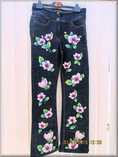 Upcycled Denim ladies Pants embellished with by KraftytKiwiKorner
