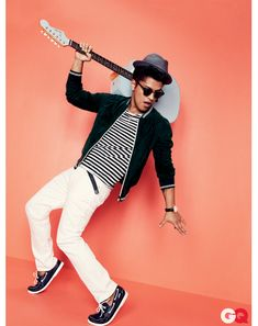 Bruno Mars for GQ Magazine -Fedora by Still Life -Jacket by D&G -Jeans by Shipley & Halmos -Boat Shoes by Sebago Docksides