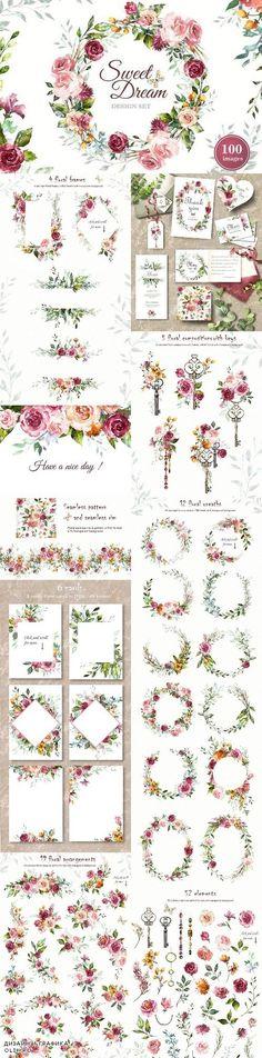 Watercolor Flower Clipart Design set 1808744