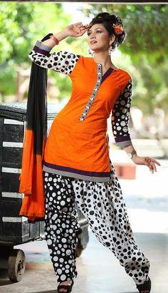 $73.98 Orange Cotton Printed Punjabi Salwar Suit 25593