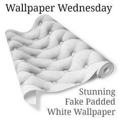 Koziel Padded White Linen Look Wallpaper at Rockett St. George £39