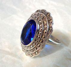1920's  Uncas art deco Marcasite blue sapphire glass, sterling silver ring #Cocktail