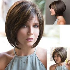 Fashion Short Bob Wigs Dark Brown Mixed Blonde Hair With Bangs Luxury Bob Cut Wigs Adjustable Full Wig Ombre Hair Synthetic Heat Resistant Wigs Costume Wig Casual Party Wigs Halloween Wig For Fashion Lady Replacemnet Wigs Blonde Hair With Bangs, Short Hair With Bangs, Short Hair Styles, Shaggy Bob Haircut, Lob Haircut, Bob Cut Wigs, Short Bob Cuts, Monofilament Wigs, Wavy Bob Hairstyles