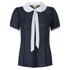 Damson Navy Shirt | Vintage Style Shirts - Lindy Bop