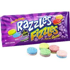 Razzles First it's a candy....then its gum and now with popping! This unique candy starts off as a hard candy and as it is chewed it turns into a popping flavorful gum. Flavors are lemon-lime fizzles,