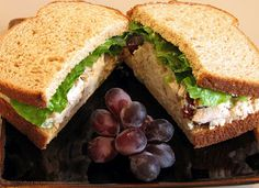 Chicken Salad Sandwich#2: 2-3 cups cooked chicken, diced 1 handful of red, seedless grapes 1 handful of walnuts, chopped 1 stalk of celery, diced finely 1 tbsp of sweet yellow onion, diced finely 1-2 tbsp of low fat mayonnaise 1 tsp red wine vinegar Salt & pepper to taste Combine all ingredients and mix thoroughly. Taste & re-season if needed Romaine lettuce Whole wheat bread