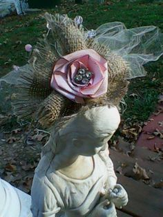 I love this Crown... made by me from upcycled chicken wire... I added Burlap, vintage ribbon, tulle, and a handsewn ribbon flower...then aged it with ink... and dazzled it out with a Dolly Glam Rhinestone... and then topped it off with Swarvosky crystals along the top... so beautiful!!!