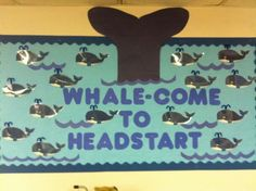 bulletin boards back to school. Write students names on whales. Great for an ocean theme! Welcome Bulletin Boards, Summer Bulletin Boards, Back To School Bulletin Boards, Preschool Bulletin Boards, Summer Bulliten Board Ideas, September Bulletin Boards, Preschool Welcome Board, Welcome Back Boards, Bullentin Boards
