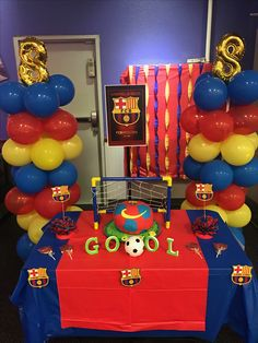 Messi Birthday, Soccer Birthday Parties, Football Birthday, 11th Birthday, Birthday Party Decorations, Barcelona Soccer Party, Birthdays, Unicorns, Soccer Party