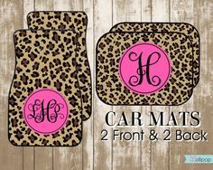 Great Gifts for Teenagers!   Personalized Leopard and Hot Pink Car MatsDesign by LollipopInk, $35.00