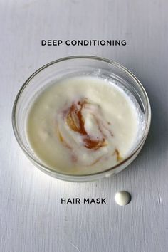 ingredients (double up for long hair): - 2  tablespoons natural yogurt - 1  tablespoon honey - 1/4 tsp coconut oil for thin hair, 1/2 tsp coconut oil for thicker hair (see how your hair soaks in the oil – mine can only take a drop!)   - if your coconut oil is hard, go ahead and melt it down - combine all of the ingredients together - work the mask onto your hair, from the scalp to the ends - give your scalp a good massage – you want the mask to cover your scalp - leave the mask on for 15 -20…