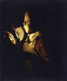 Boy Blowing at Lamp by Georges de la Tour - Cd Paintings Renaissance Paintings, Renaissance Art, Caravaggio, Tempera, Matisse, French Paintings, Abstract Paintings, Oil Paintings, Alchemy Art