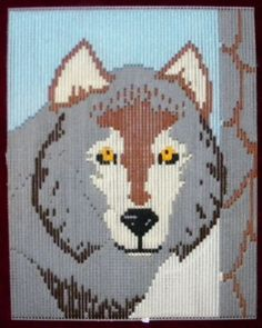 """COMPLETED ITEM """"GREY WOLF"""" IN PLASTIC CANVAS BEAUTIFULLY FINISHED 11"""" X 14"""""""