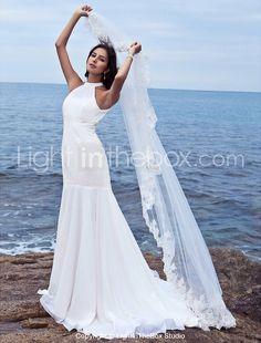 Trumpet/ Mermaid Halter Sweep/ Brush Train Chiffon Wedding Dress - USD $ 179.99