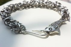 Fish Hook Bracelet - Byzantine Chainmaille Bracelet - Handmade, Fishing, Silver by DameCreation on Etsy