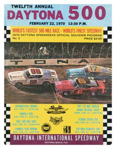 12th Annual 1970 Daytona 500 Canvas 22 x 30 Program Print