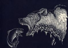 polar bear lino print - Google Search