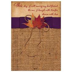Wedding Invitation | Autumn Leaves on Faux Burlap