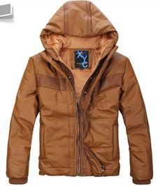 Zipper Slim With Hat Casual Men Cotton Brown Coat Clothing M/L/XL/XXL@SJ43111br