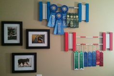 I'm always looking for new ways to display the kid's horse show ribbons. This is a cute idea for a few of the ribbons.