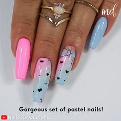 A step by step tutorial on how to create adorable pastel nails! By Nails Revolutions on Youtube Light Pink Acrylic Nails, Pastel Nail Art, Nail Art Diy, Diy Nails, Manicure Ideas, Sassy Nails, Cute Nails, Marble Nails Tutorial, Hello Kitty Nails