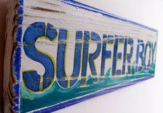 Custom Surfer Boy Beach Sign with Original Wave Design Personalized on Reclaimed Distressed Wood Coastal Surf Nursery Kids Room Decor. $35.00, via Etsy.