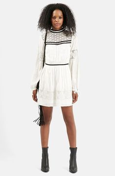Free shipping and returns on Topshop Velvet Trim Embroidered Lace Dress at Nordstrom.com. Smooth velvet trim and openwork lace paneling enhance the classic Victorian style of a long-sleeve shift dress topped with an elegant high neckline.