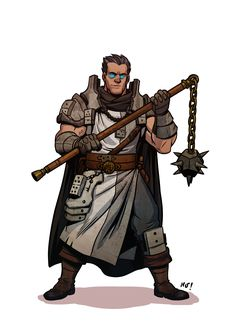 m Cleric of Luck Medium Armor Cloak Flail male Traveler med Fantasy Character Design, Character Concept, Character Inspiration, Character Art, Concept Art, Dnd Characters, Fantasy Characters, Fantasy Heroes, Fantasy Armor