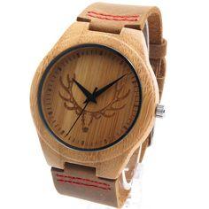 BREEZY WIND Mens Deer Head Design Buck Bamboo Wooden Watch – breezywind