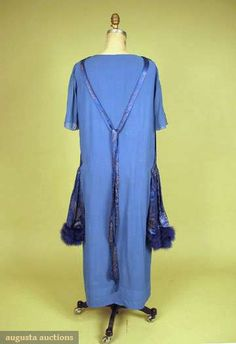 BLUE & GOLD LAME EVENING GOWN, c. 1919