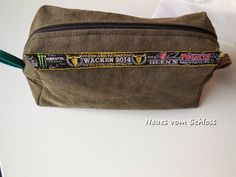 Tasche aus Hose, Armband und Wachstuchrest / Pouch made from pair of trousers, wristband and scraps of waxed cotton / Upcycling