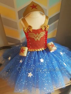 Superhero tutu dress fancy dress Christmas dress dress up Disfraz Wonder Woman, Wonder Woman Tutu, Wonder Woman Birthday, Wonder Woman Party, Girls Tutu Dresses, Tutus For Girls, Kids Costumes Girls, Superhero Fancy Dress, Crochet Tutu
