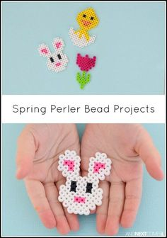 Spring & Easter perler bead patterns - these make awesome Easter crafts for kids Melty Bead Patterns, Pearler Bead Patterns, Bead Loom Patterns, Perler Patterns, Beading Patterns, Knitting Patterns, Bracelet Patterns, Mosaic Patterns, Embroidery Patterns