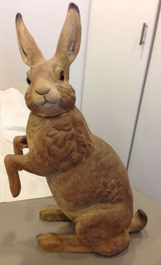 "ANTIQUE EASTER GERMAN CANDY CONTAINER giant 18"" 1890's rabbit glass eyes Sold $3092."